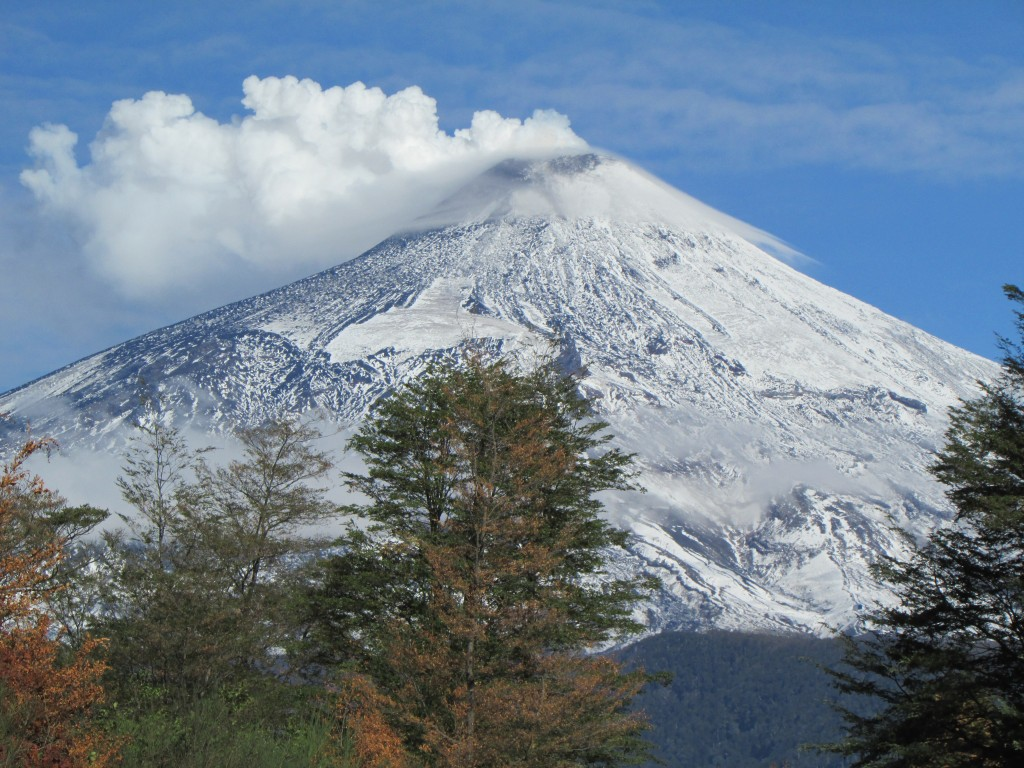 first snow volcano villarrica