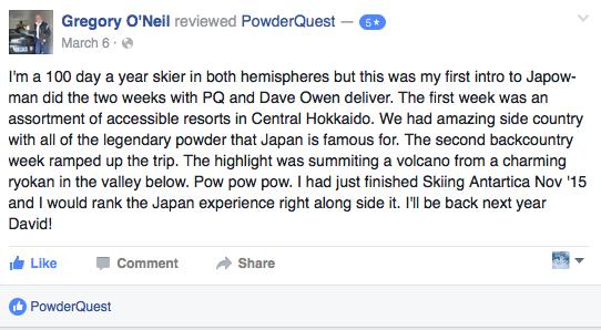 reviews of powder quest tours japan