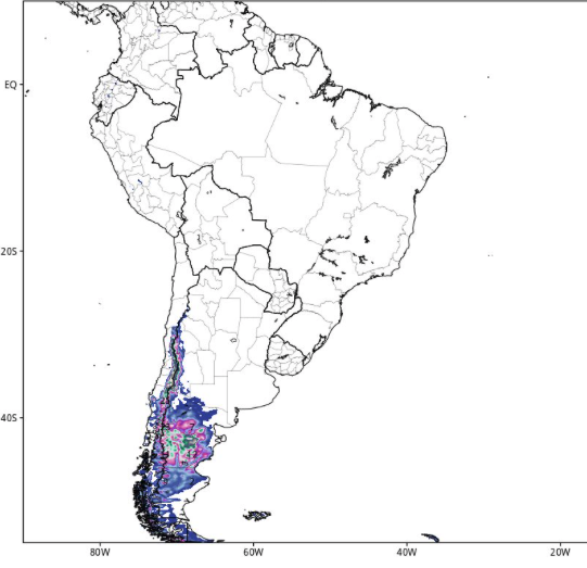 snowfall predicted totals for South America resorts