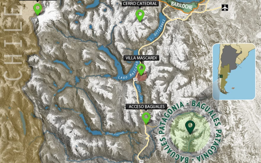 map: where is baguales cat skiing