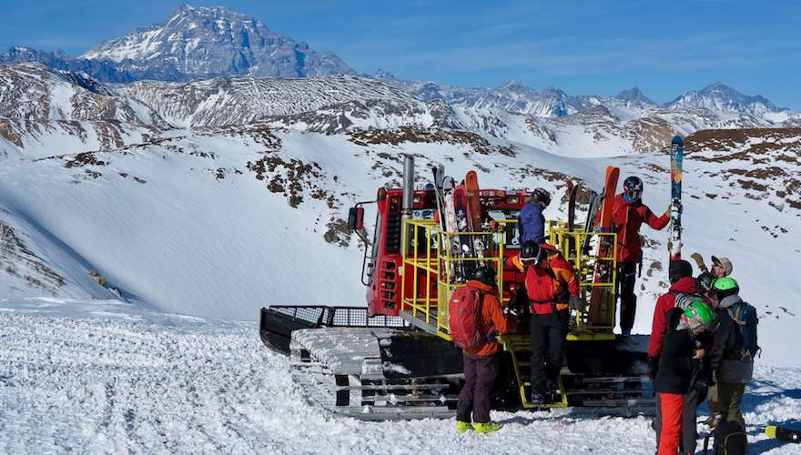 chile cat skiing in august