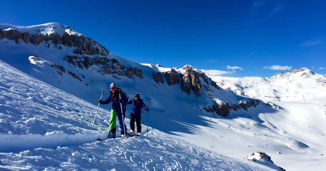 Lift assisted ski touring out of La Parva, Chile
