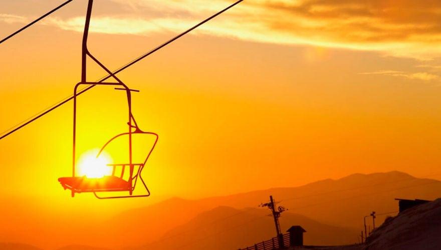 sunset at la parva ski resort in chile
