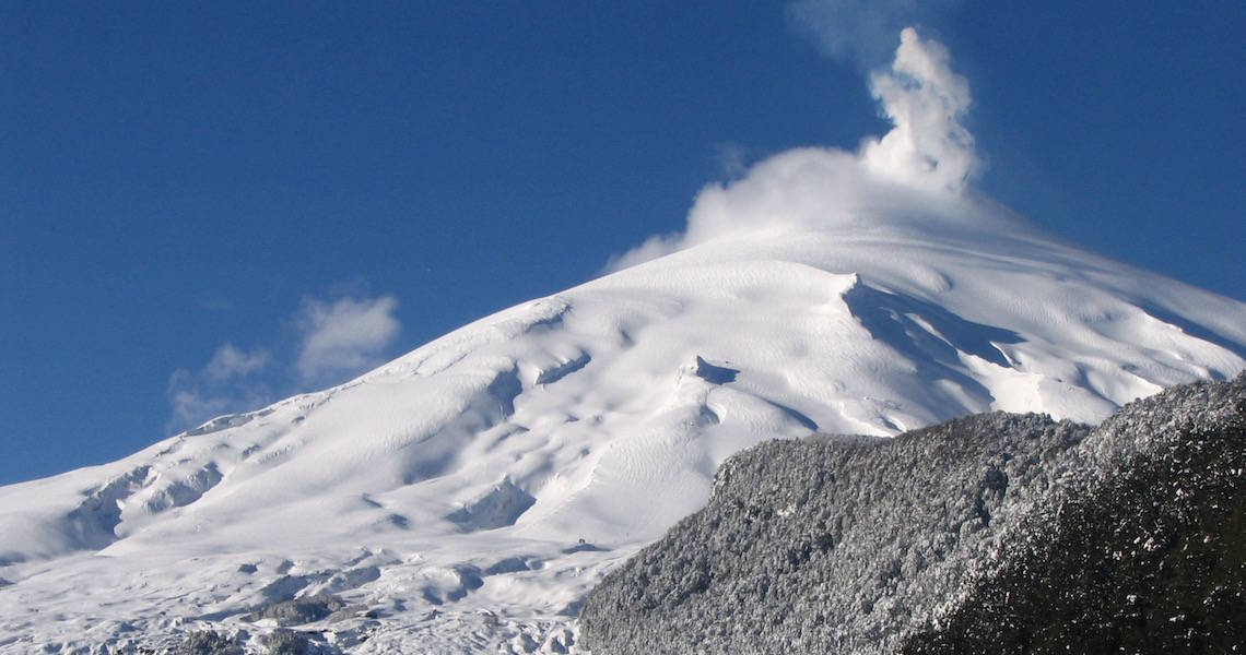 The volcanoes of Chile offer amazing ski touring terrain well into October.