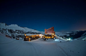dusk at hotel valle nevado chile