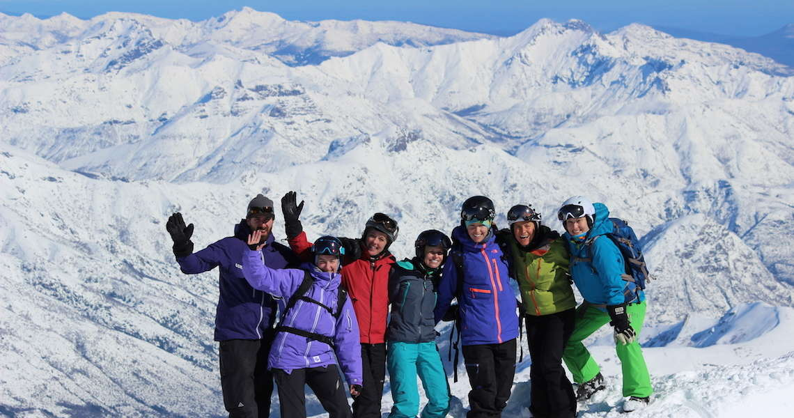 ingrid backstrom ski camp at the top of the Chillan Volcano