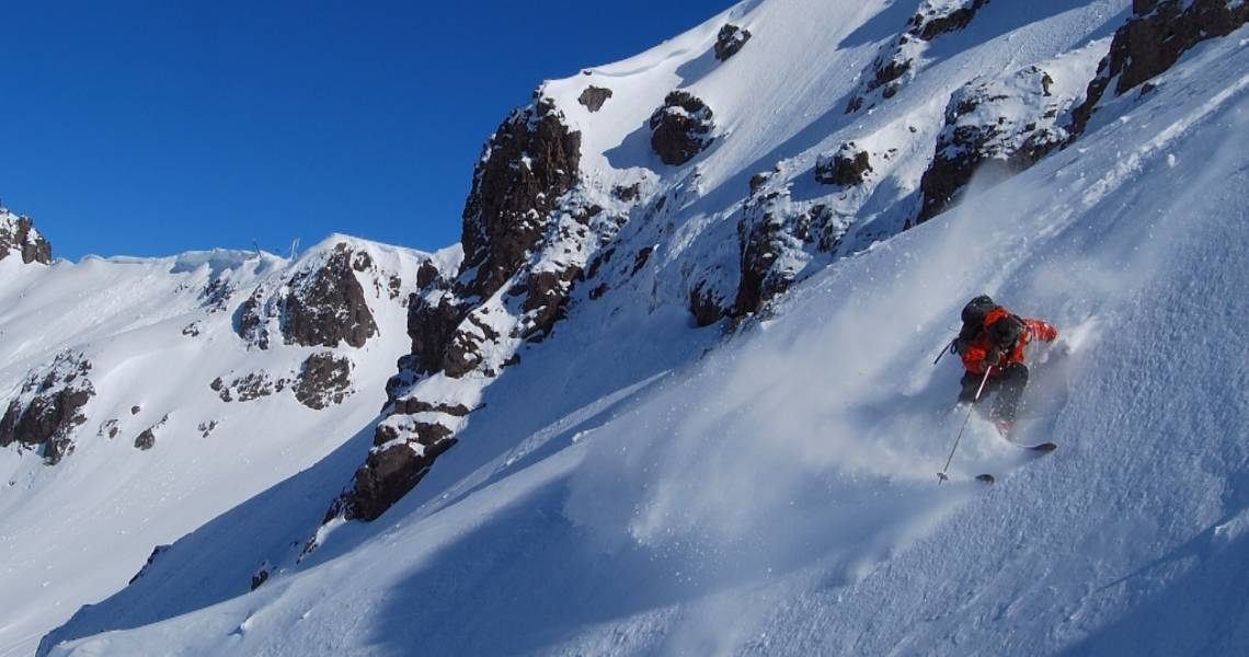backcountry bowls behind Chapelco with a short ski tour out.