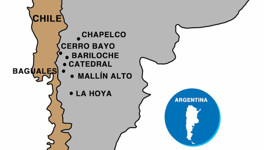 map of patagonia's ski resorts