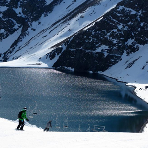 Skiing above the beautiful Inca Lake in Portillo