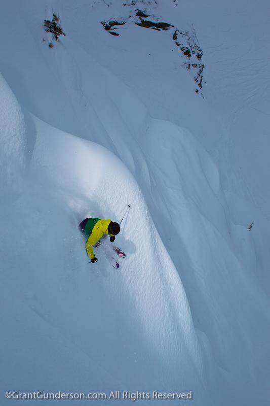 Leah Evans skiing at Revelstoke
