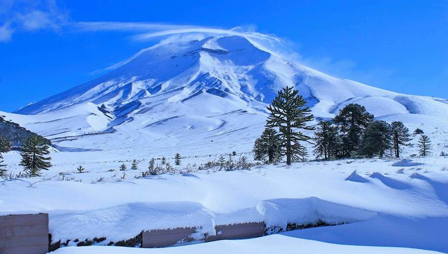 snowboarding terrain in southern chile's volcanoes