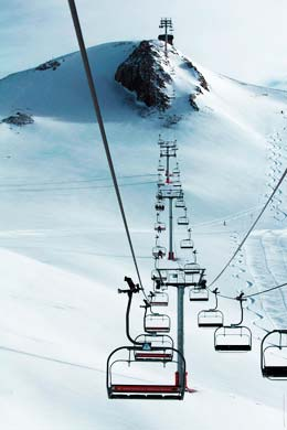 Untracked snow off the Andes Express chairlift in Valle Nevado.